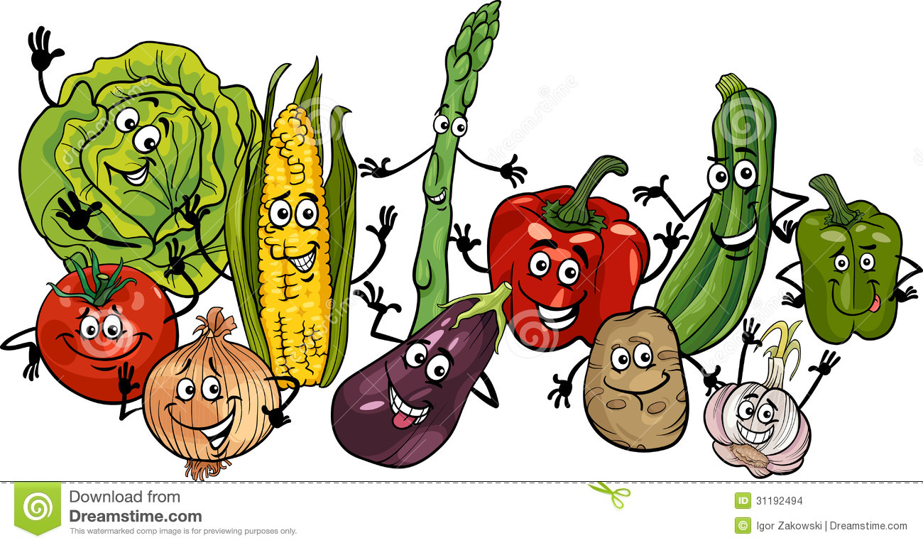 Happy Vegetables Group Cartoon Illustration Stock Images ... Happy Vegetables