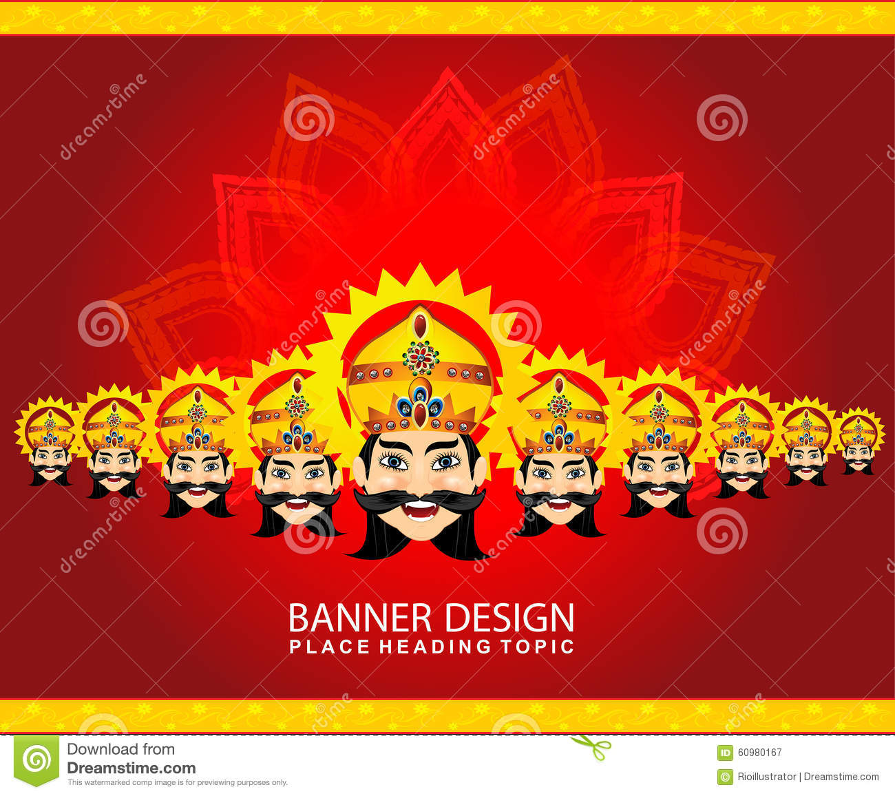 Stock Illustration: Happy vijay dashmi background with the face of ...