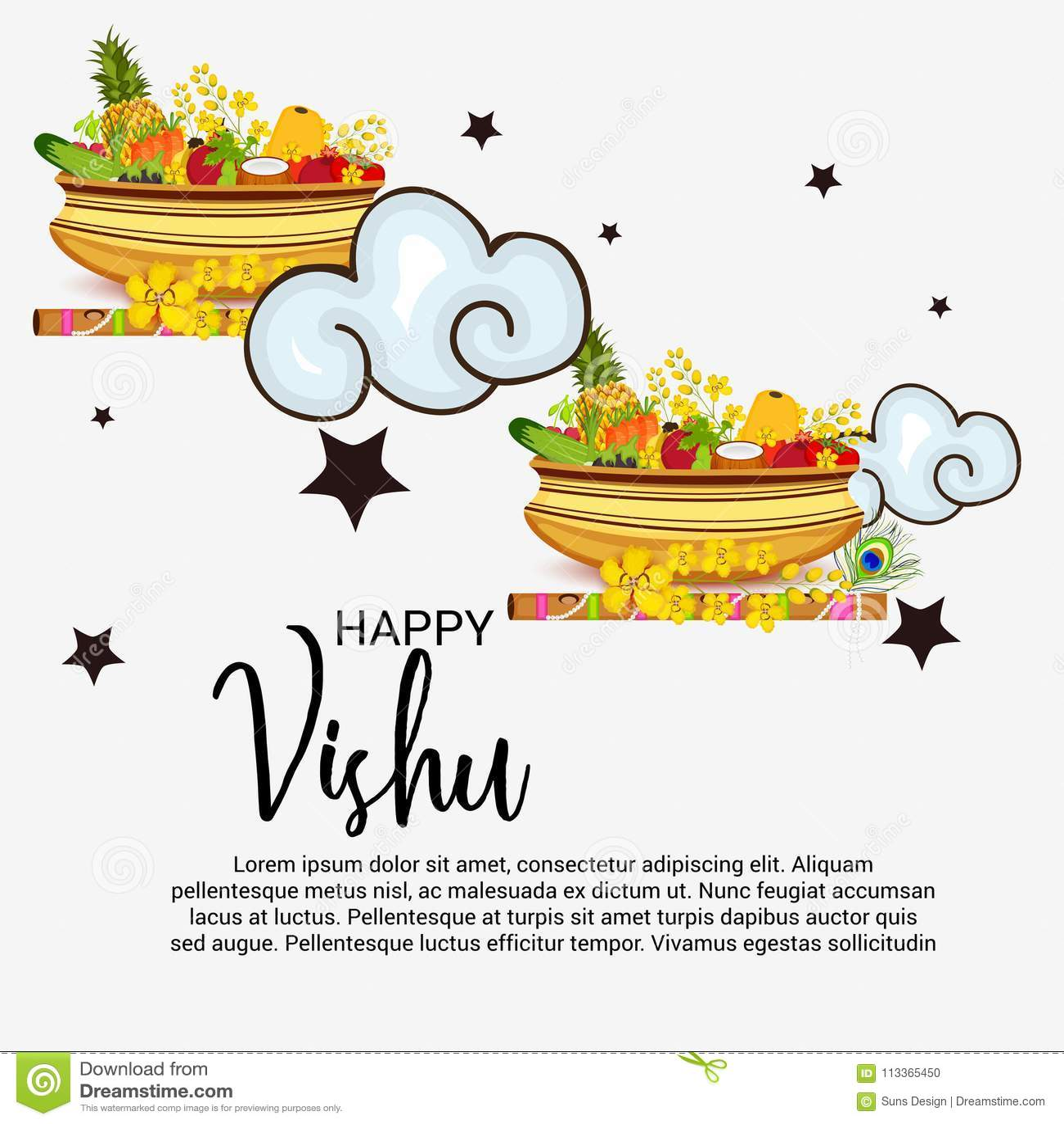 Happy Vishu Stock Illustration Illustration Of Design 113365450