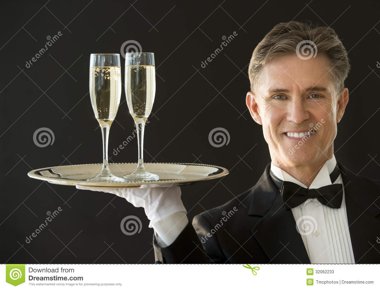 Download Happy Waiter Carrying Serving Tray With Champagne Flutes Stock Image - Image of formalwear, looking: 32062233