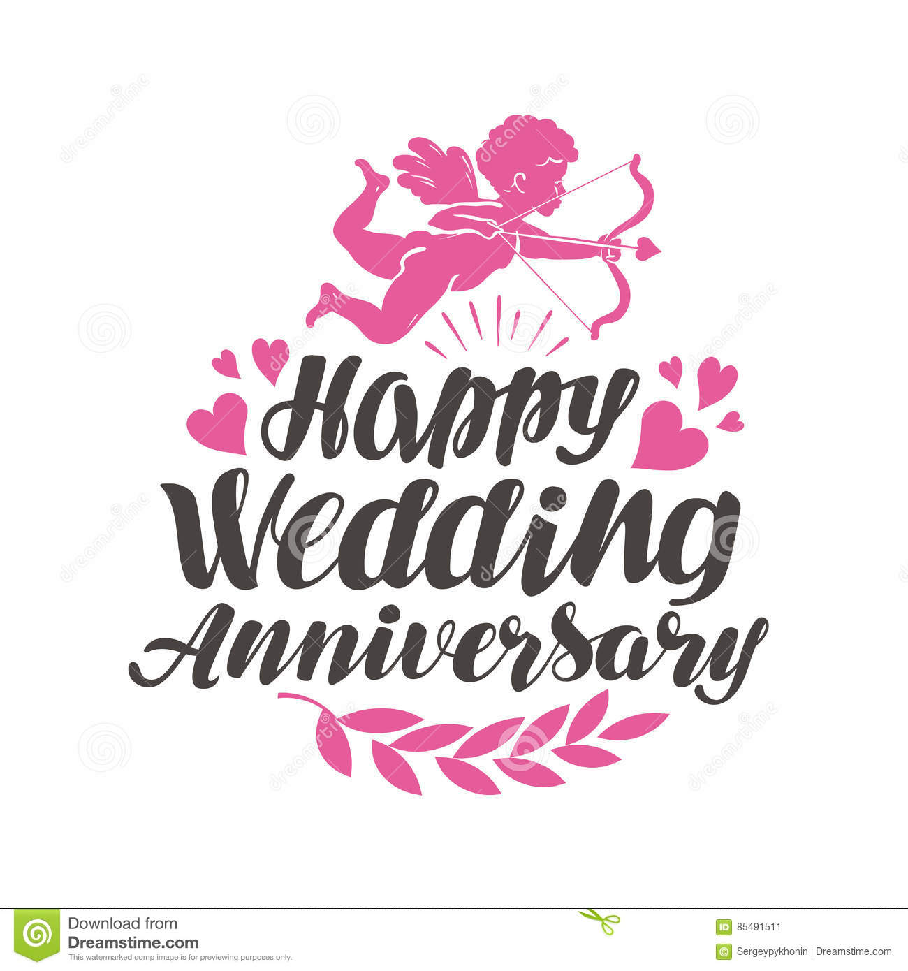 Happy Wedding Anniversary Label With Beautiful Lettering