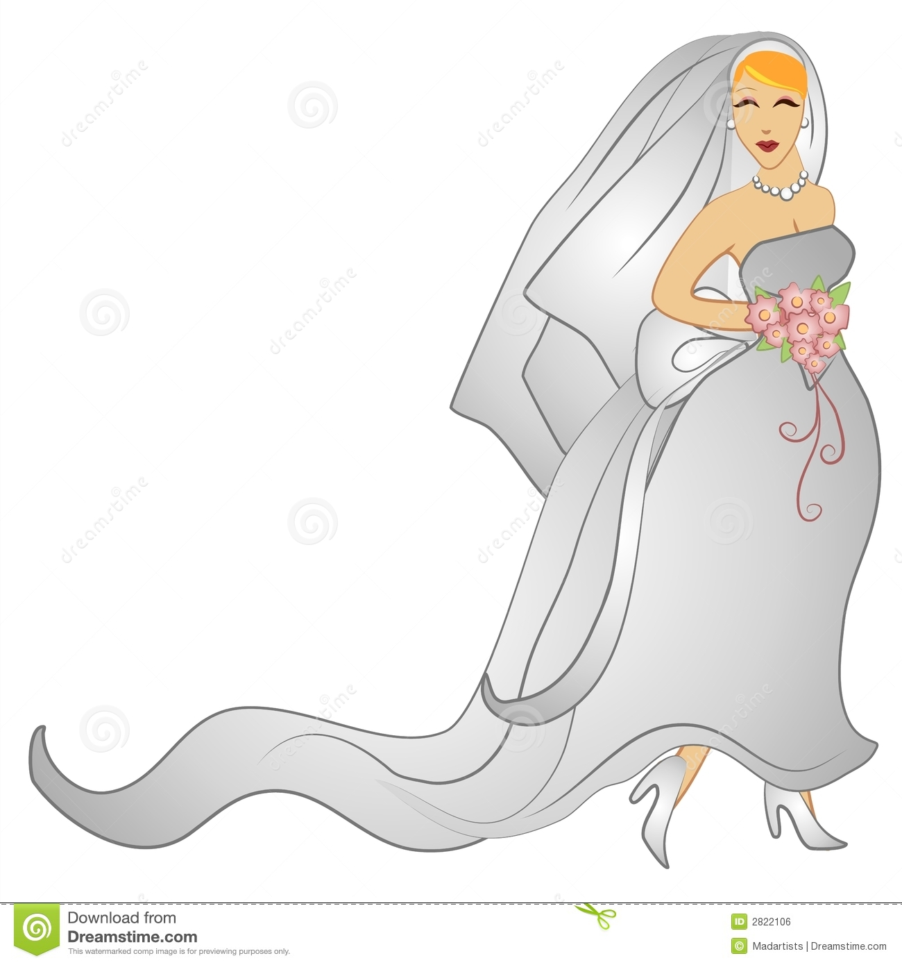 Happy Wedding Day Bridal Gown Stock Illustration Image