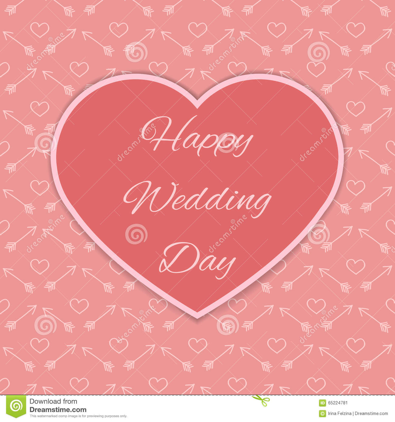 Happy Wedding Day Card Stock Vector. Illustration Of