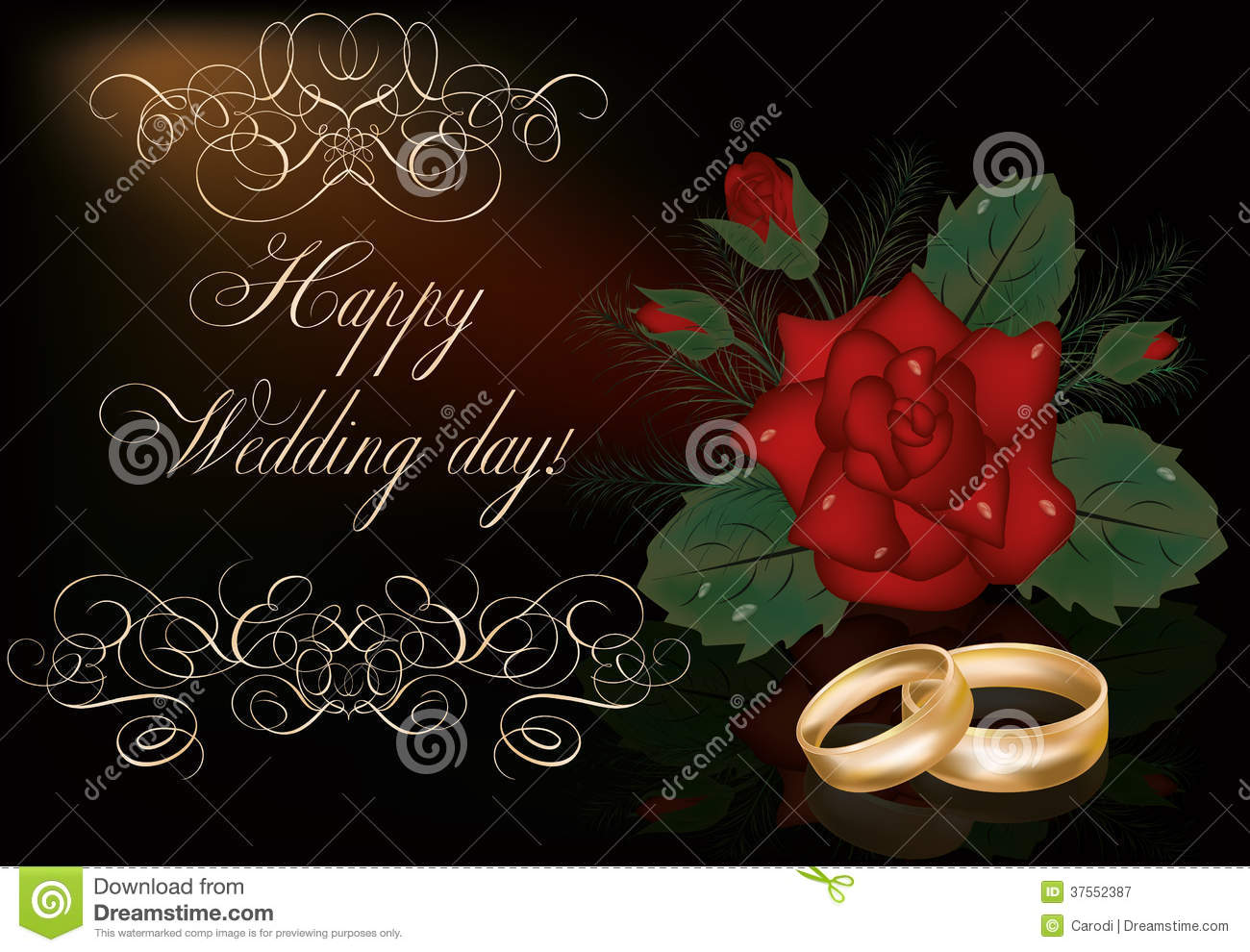 happy wedding day card with golden rings stock vector illustration