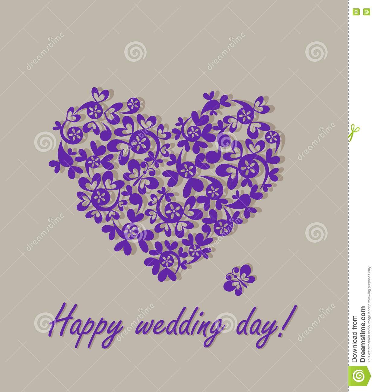 Happy Wedding Day! Greeting Card With Paper Heart Stock