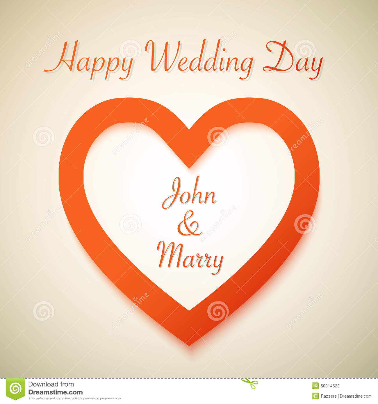 Happy Wedding Day Vector Background With Heart Stock