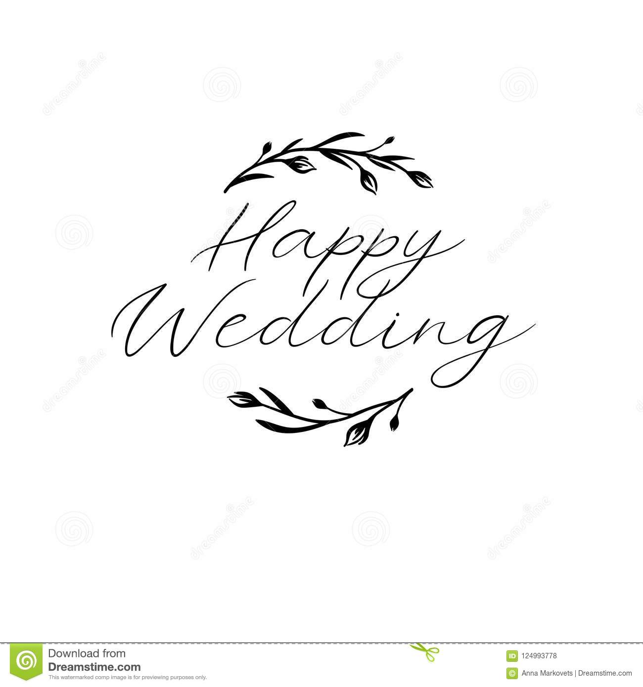 Happy Wedding Hand Lettering Text Calligraphy Inscription For