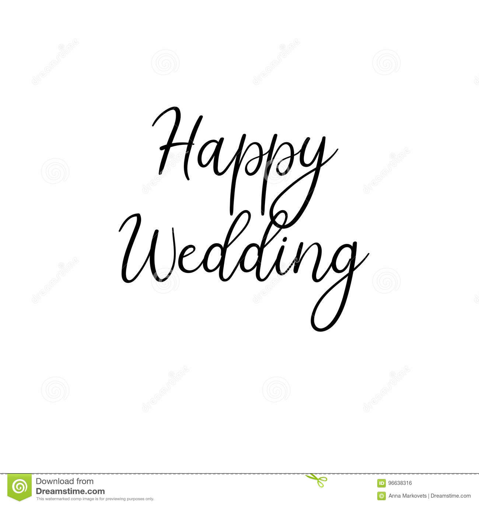 Happy Wedding. Handwritten. Calligraphy For Greeting Cards, Wedding ...