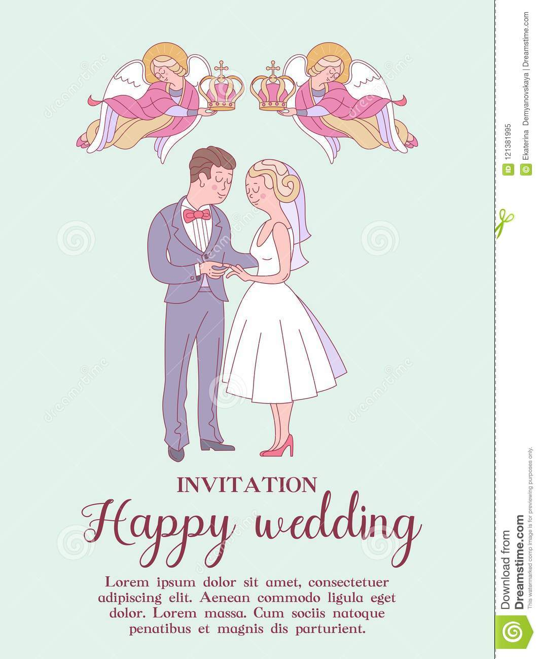 happy weddings wedding card wedding invitation bride and groom two angels hold wedding crowns over the heads of the bride and groom cute illustration