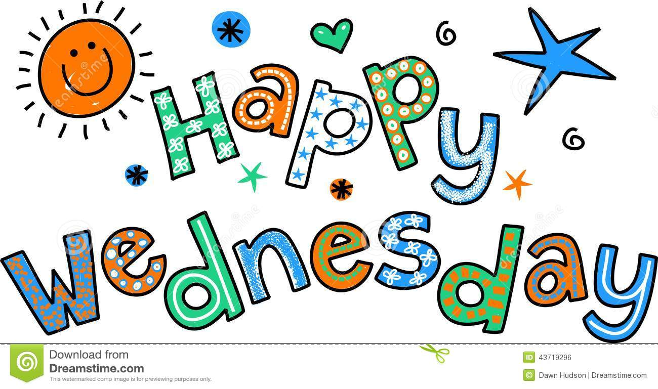 Happy Wednesday Cartoon Text Clipart Stock Illustration - Image ...