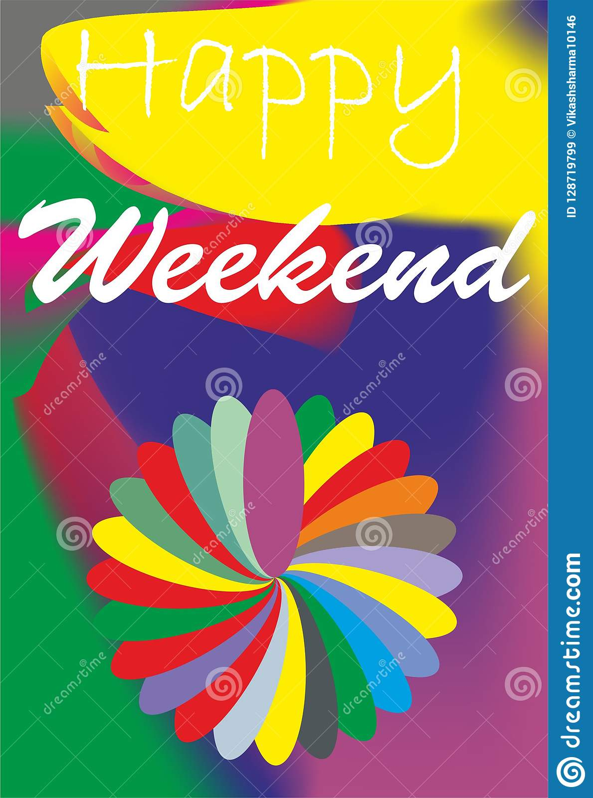 weekend design wishes quotes happy weekend stock illustration