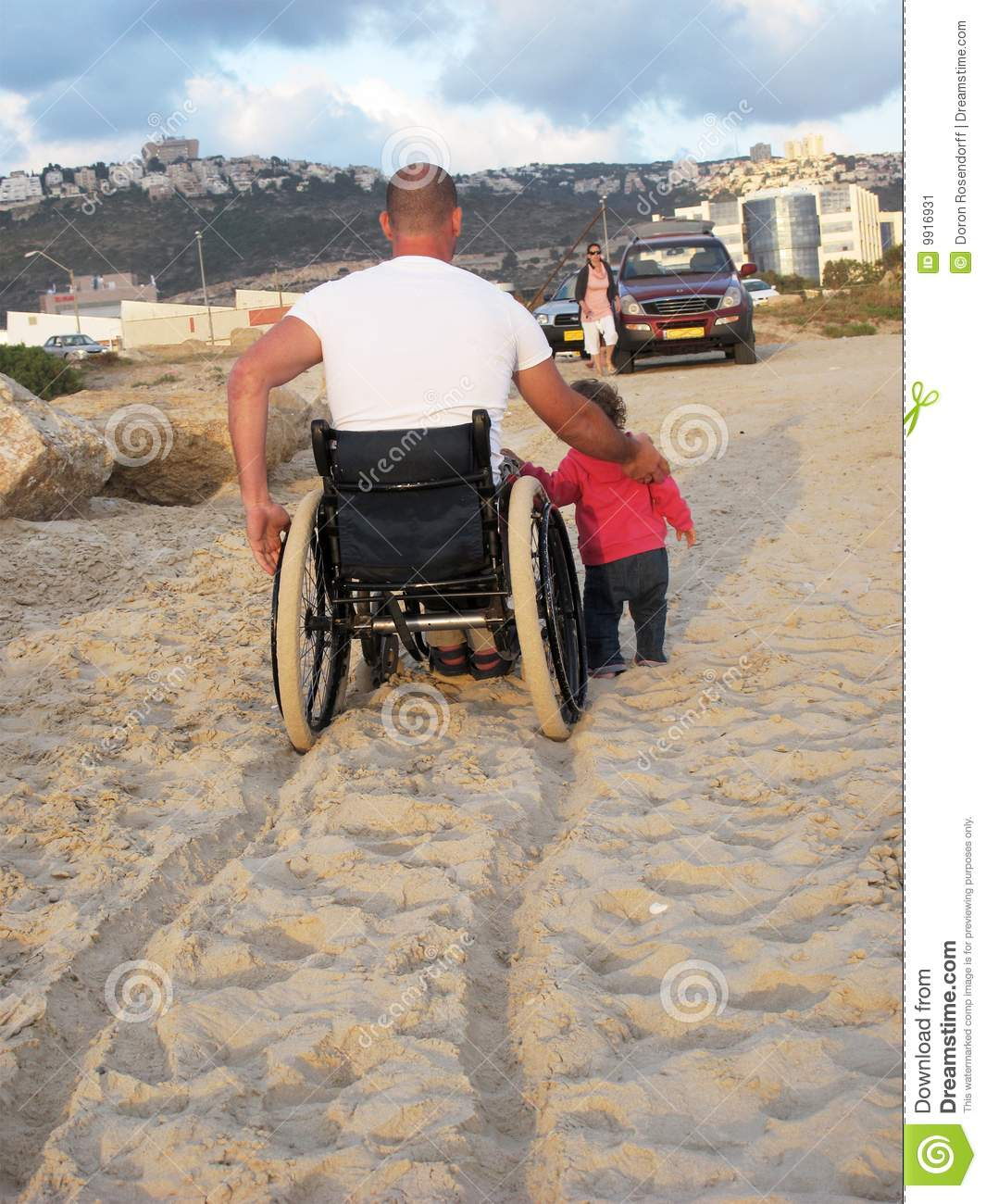 Family Enjoying Time Together On Beautiful Foggy Beach: Happy Wheelchair Family Stock Image. Image Of Able