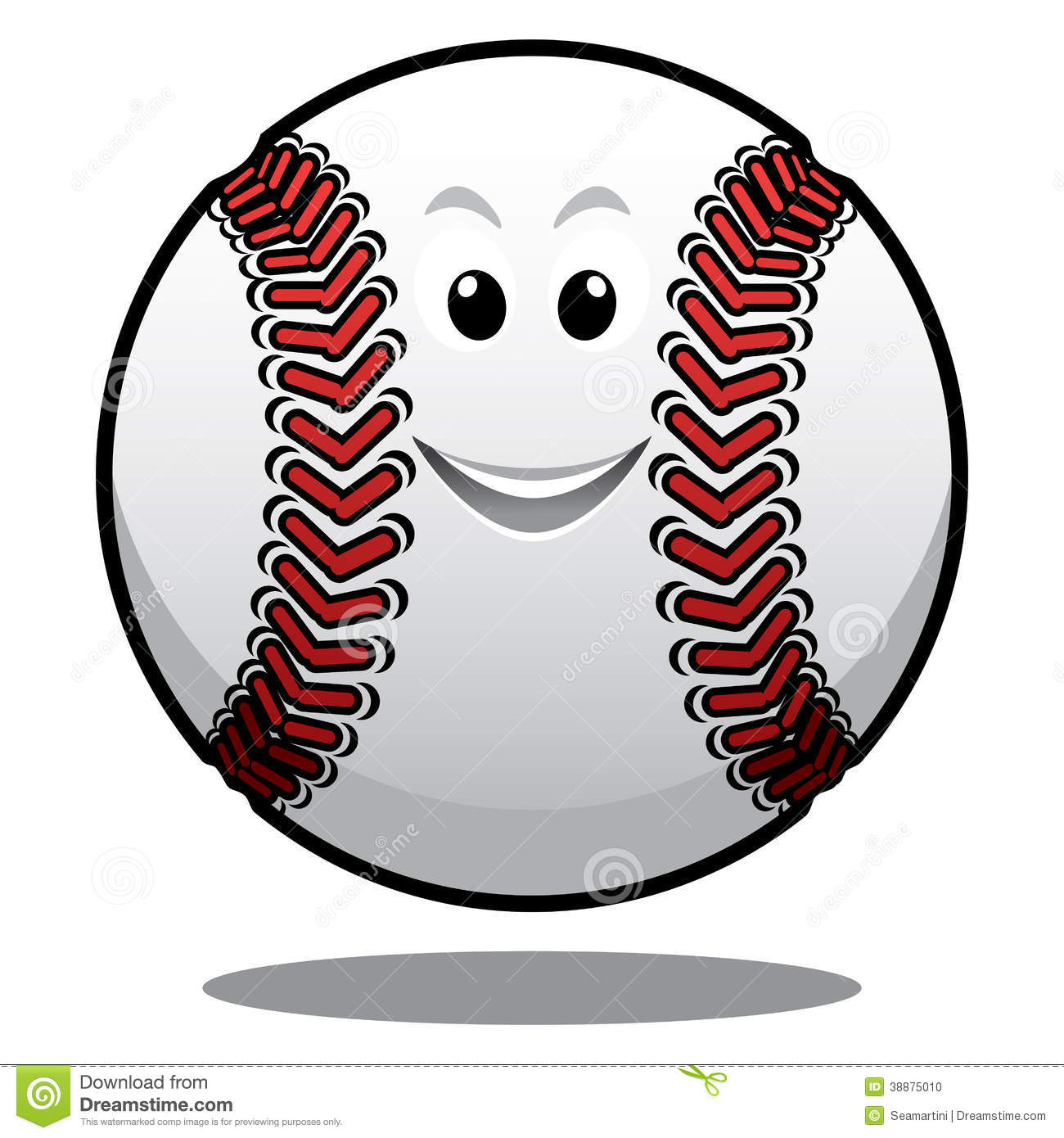 Happy white baseball ball with red stitching and a smiling face ...
