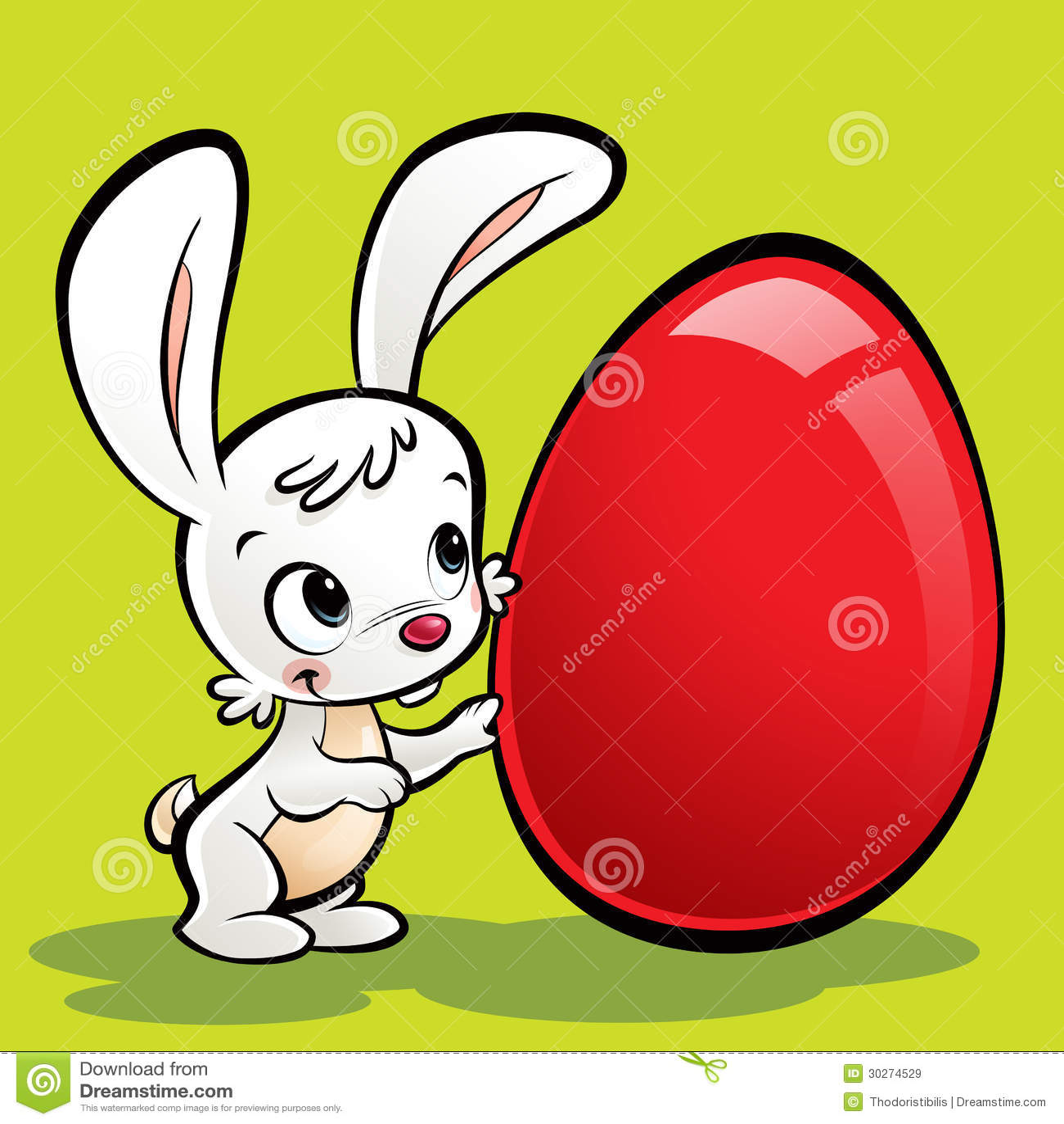 Cartoon cute bunny with a huge easter egg