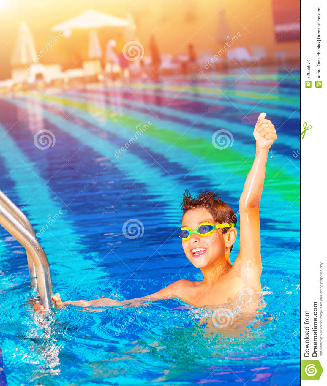 Happy Winner In The Pool Stock Images Image 32055074