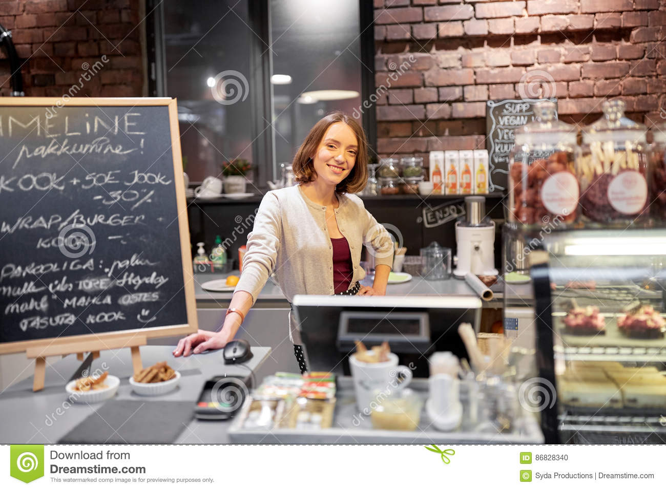 happy woman or barmaid at cafe counter stock photo image. Black Bedroom Furniture Sets. Home Design Ideas