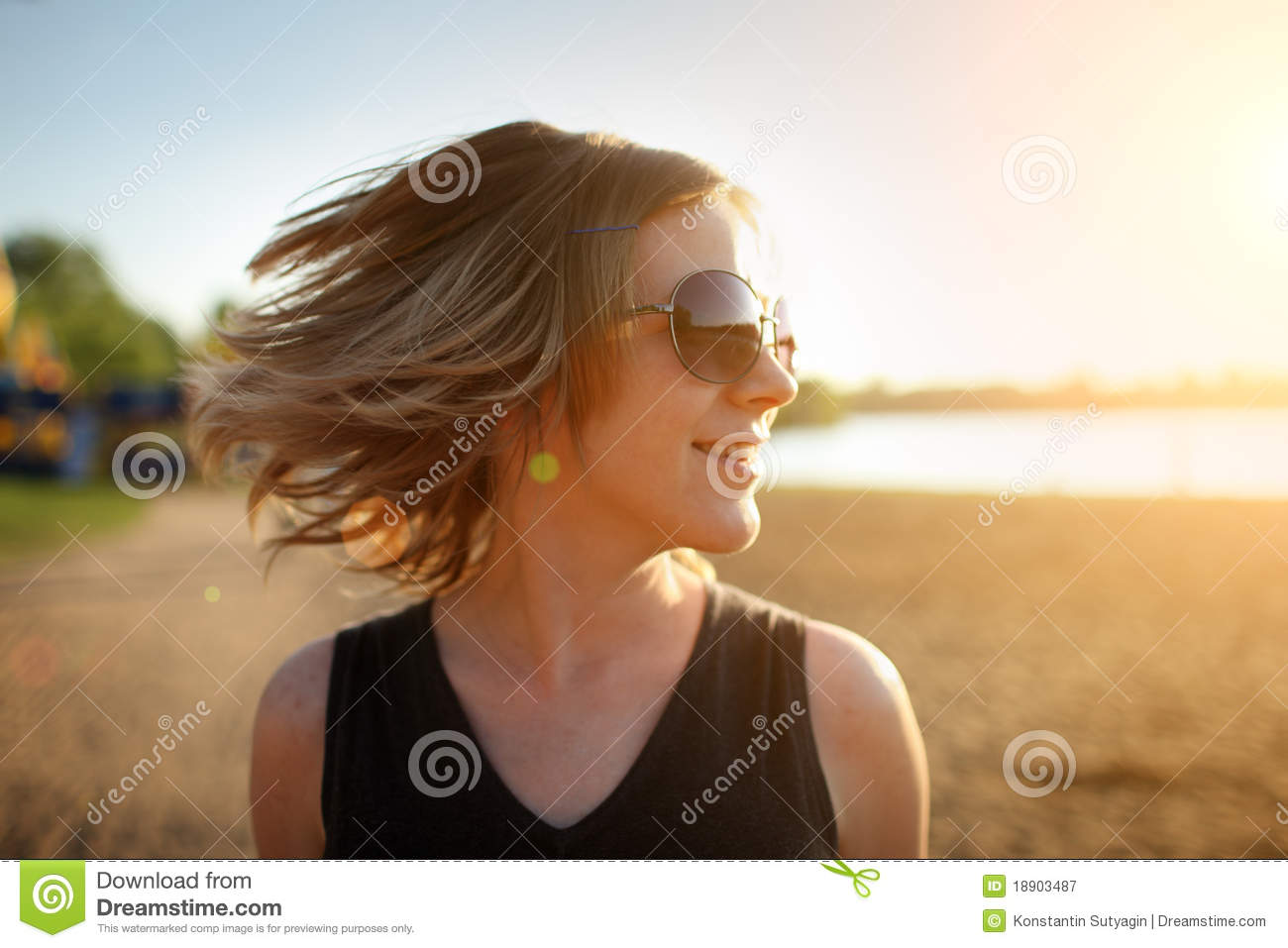 Happy woman, beach