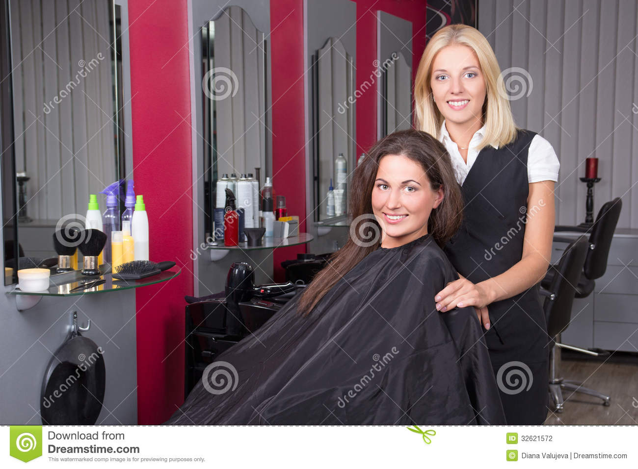 Happy Woman In Beauty Salon Getting A Hair Cut Stock Photo - Image