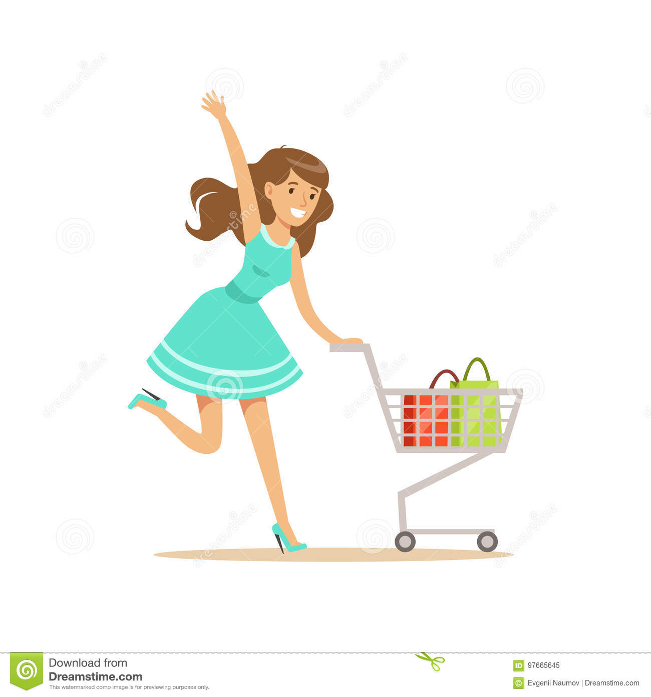 Happy woman in a blue dress running with shopping cart, shopping in grocery store, supermarket or retail shop, colorful