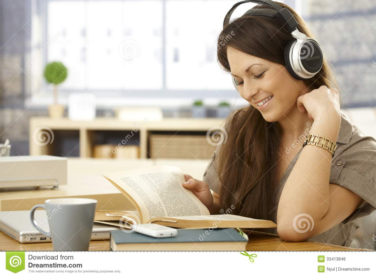 Baby bed for travel - Happy Woman With Book And Headphones Royalty Free Stock Image Image