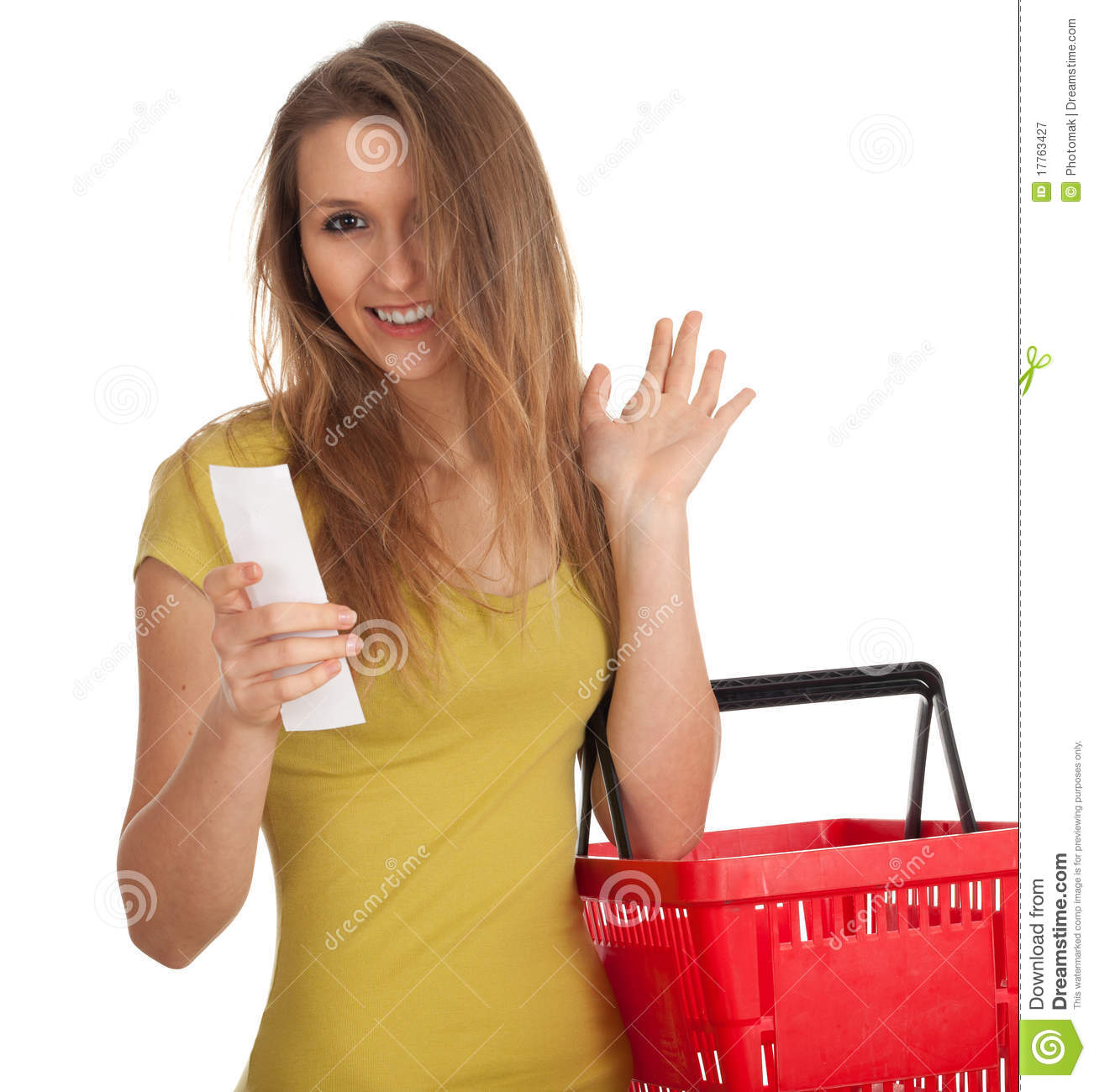 Happy Woman Checking Purchases List Waving Hello Stock