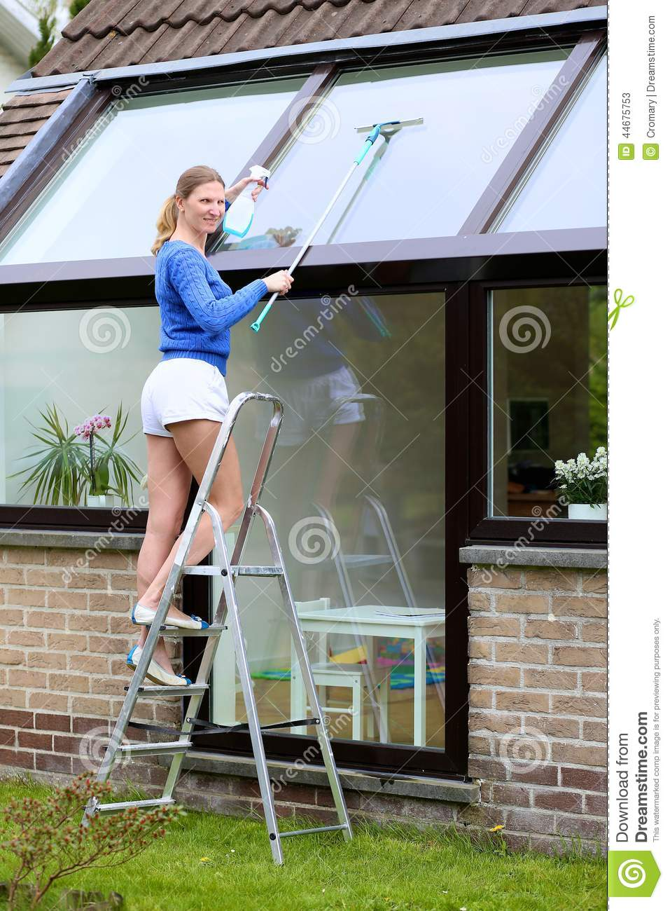 Happy Woman Cleaning Windows Outdoors Stock Image Image