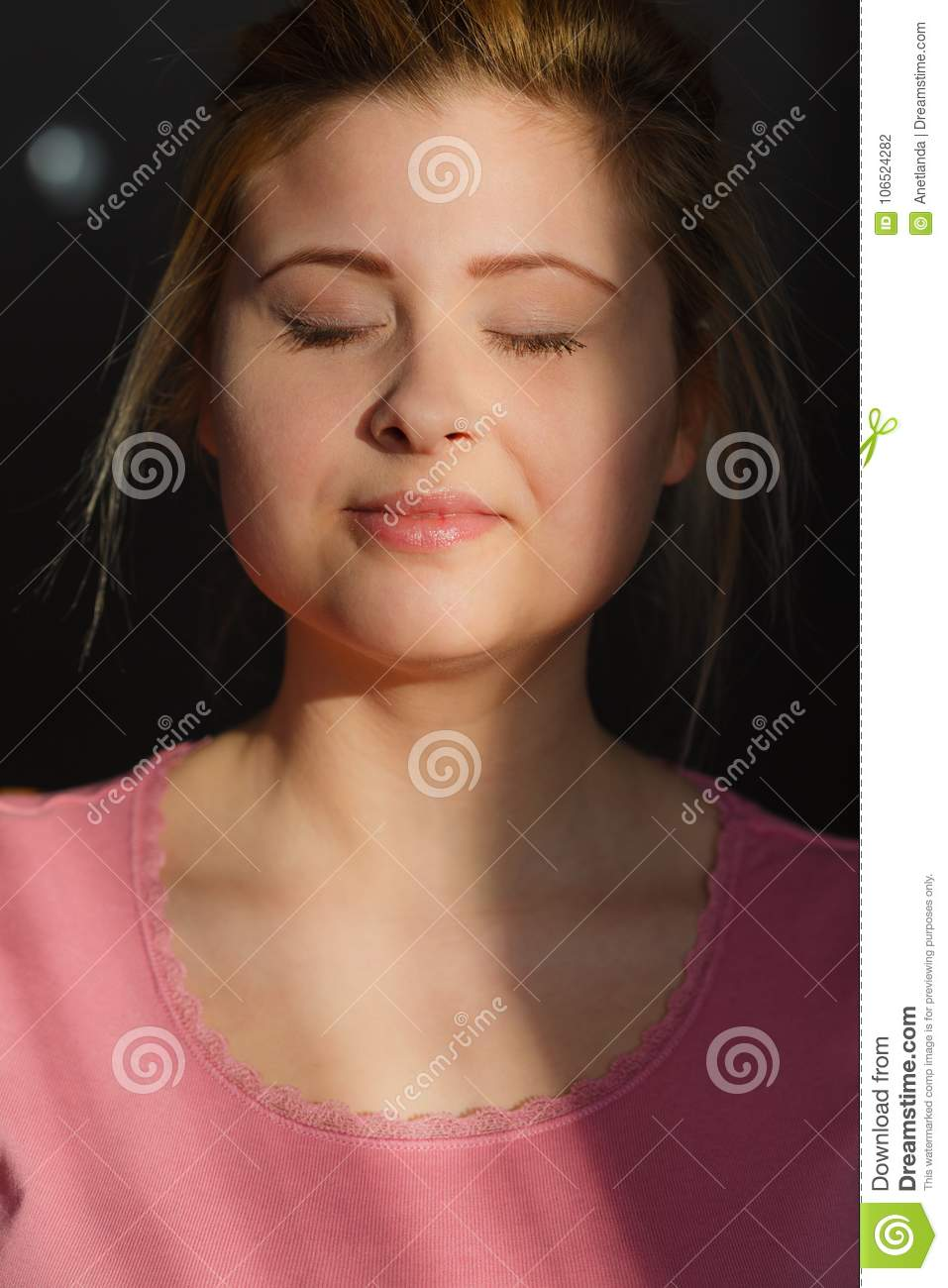 Happy Woman With Closed Eyes With No Makeup Stock Photo Image Of
