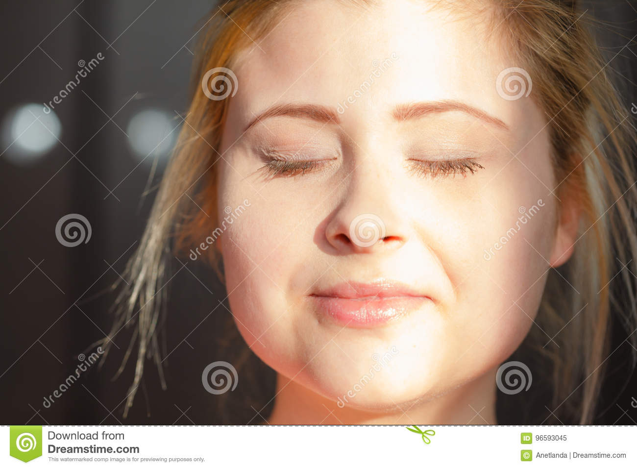 Happy Woman With Closed Eyes With No Makeup Stock Image Image Of