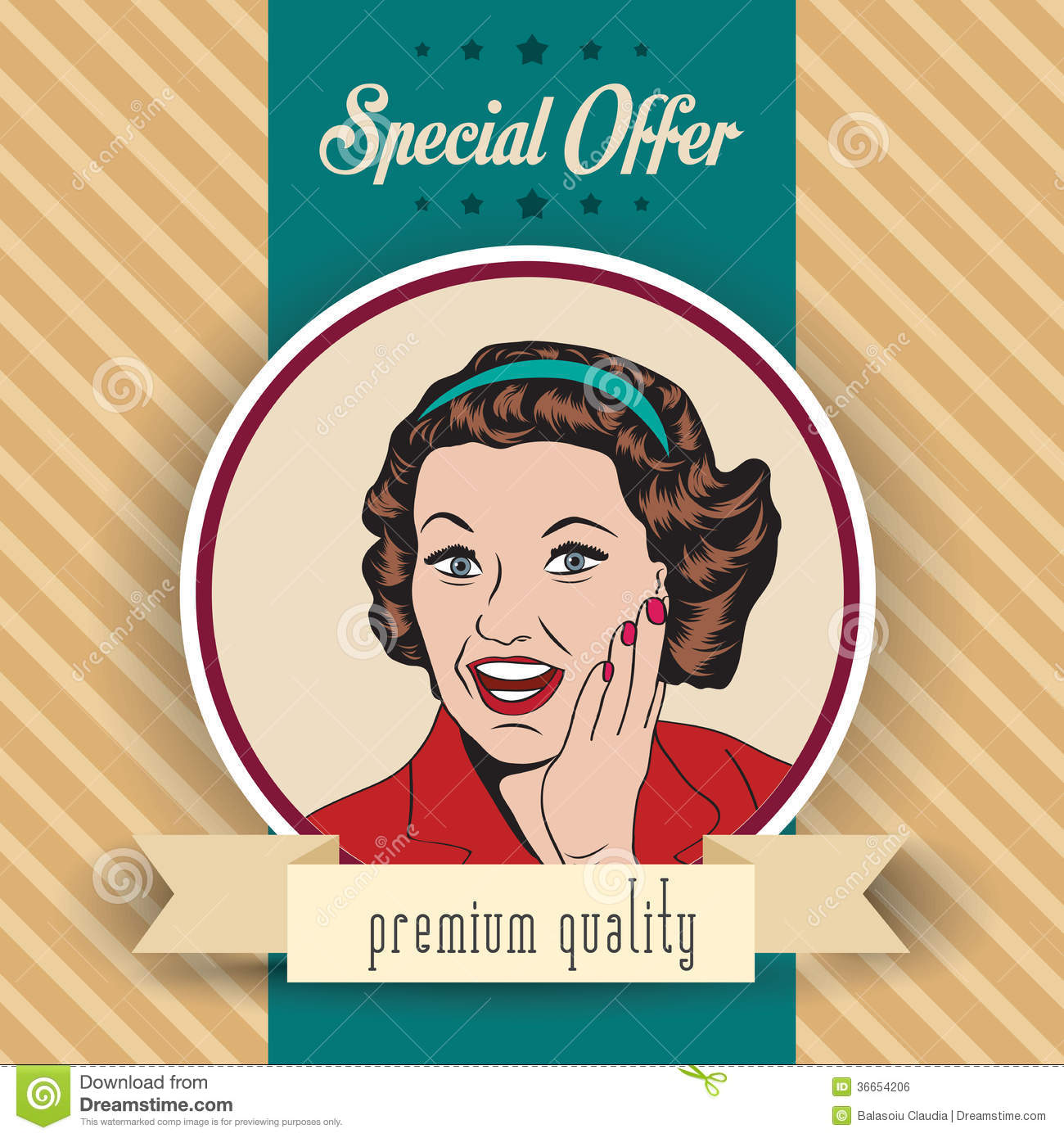 Happy Woman Commercial Retro Clipart Illustration Royalty