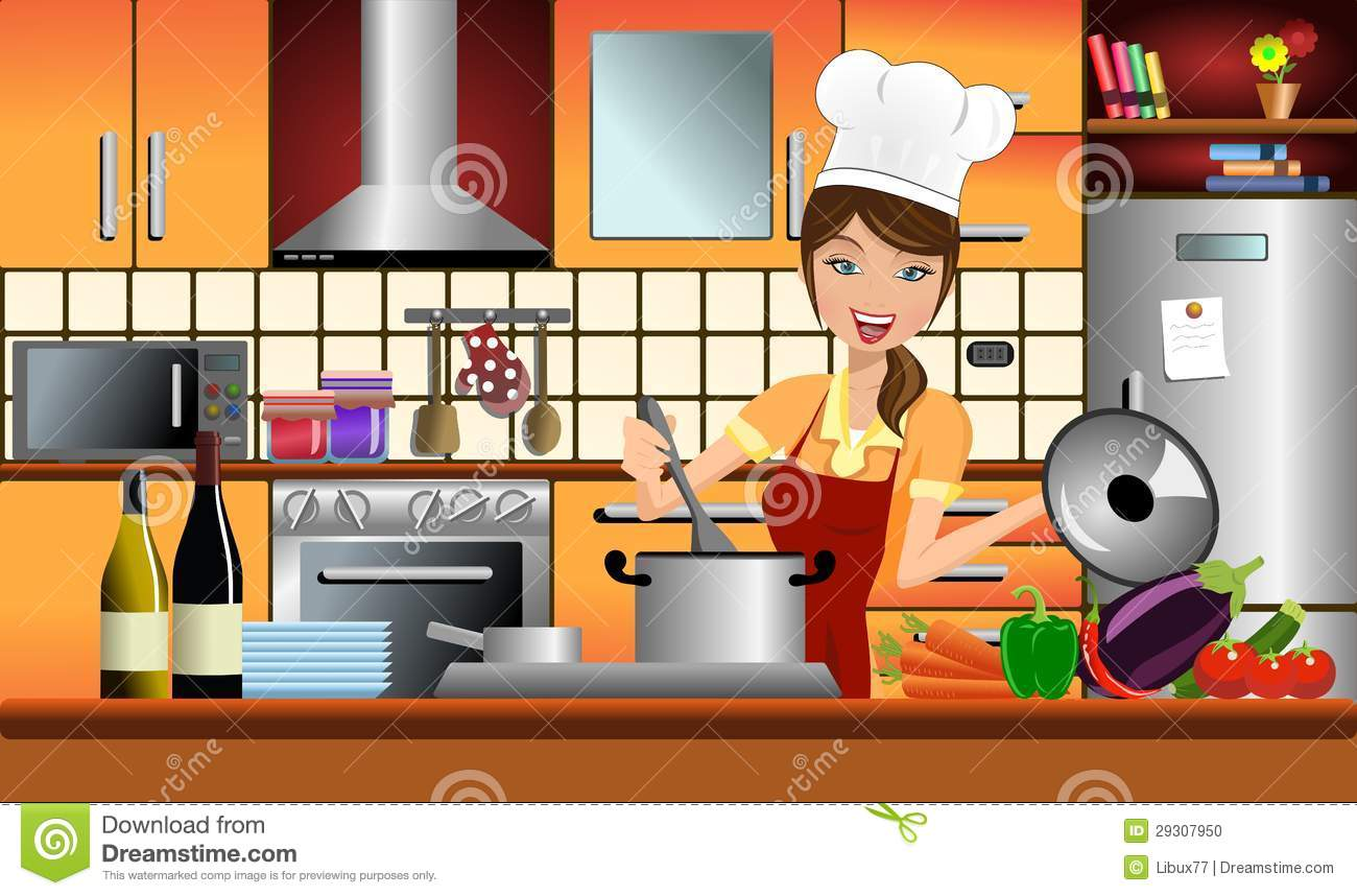 Happy Woman Cook In A Modern Kitchen Stock Vector Illustration Of Book Background 29307950