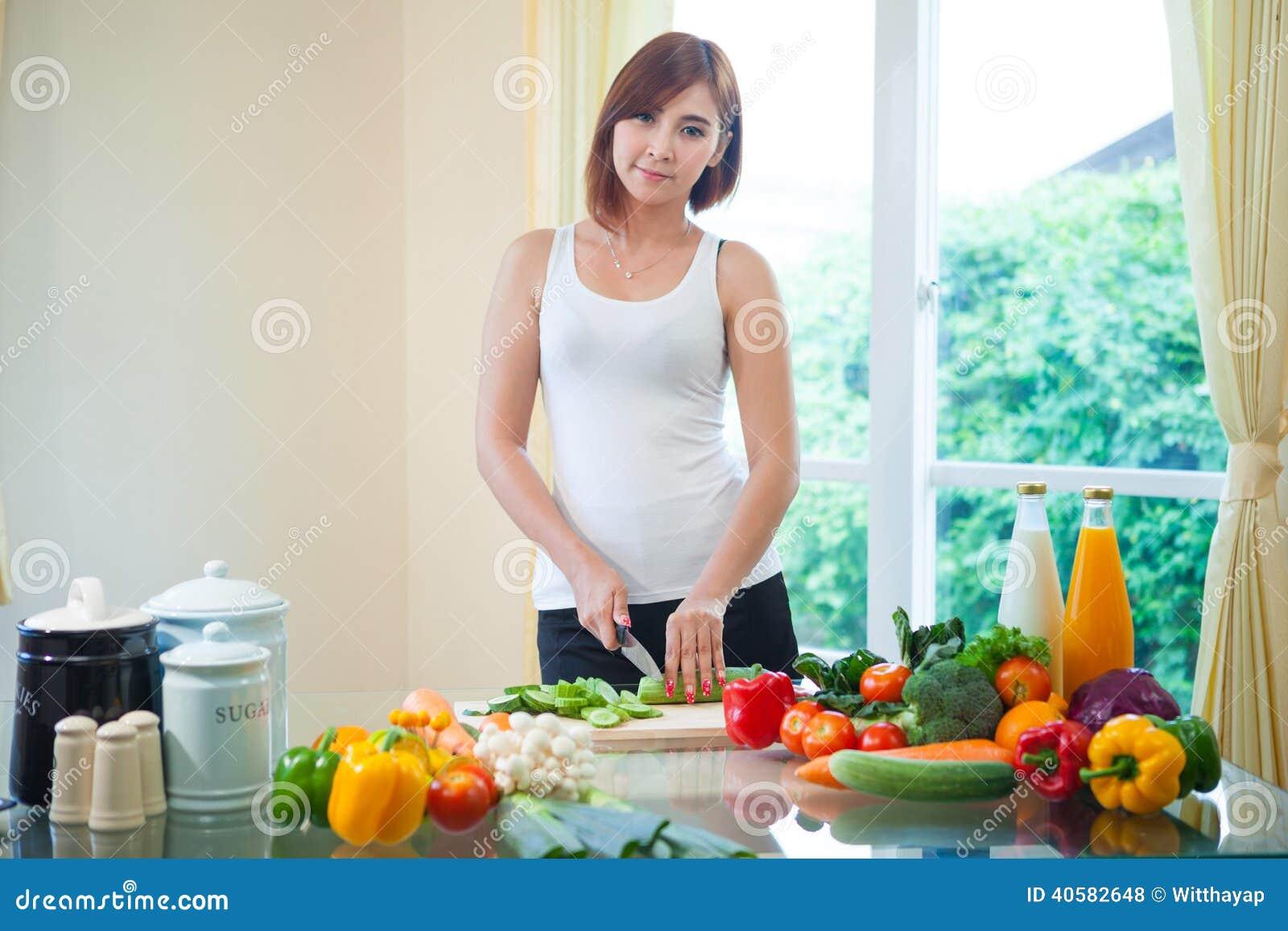 Asian girl kitchen