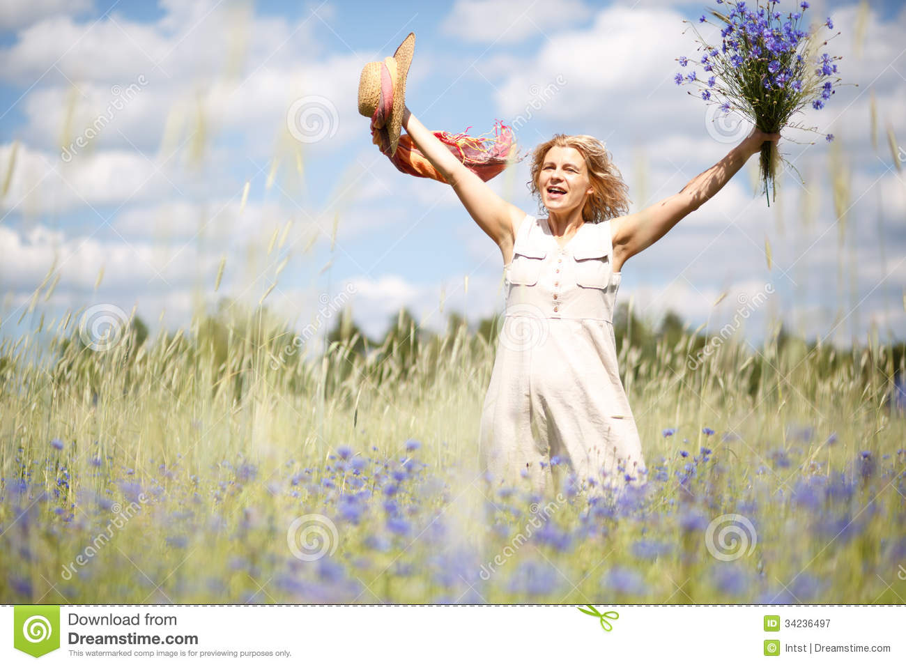 Happy Woman In Corn Field Royalty Free Stock Photography ...