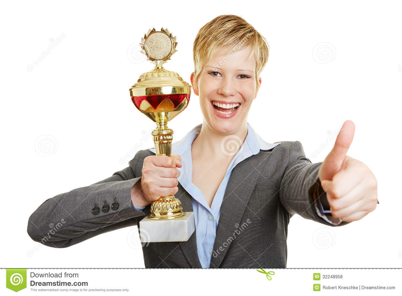 Happy woman with cup holding thumbs up