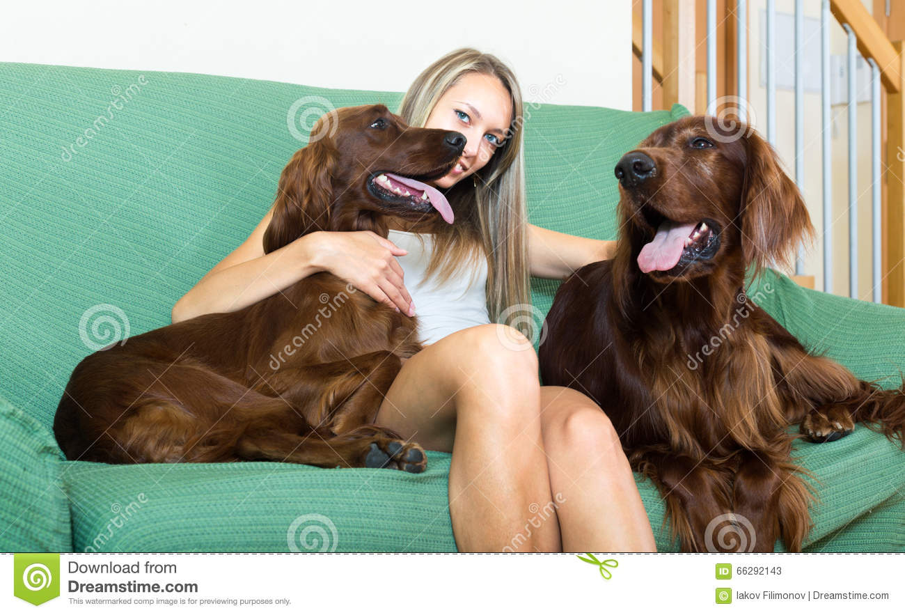 Happy woman and dogs