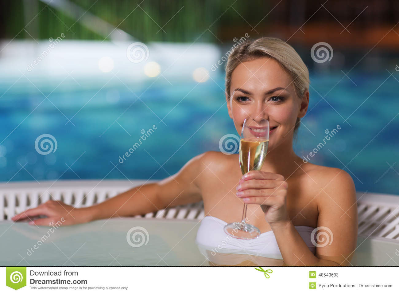 Happy Woman Drinking Champagne At Swimming Pool Stock Image Image Of Bodycare Holidays 48643693