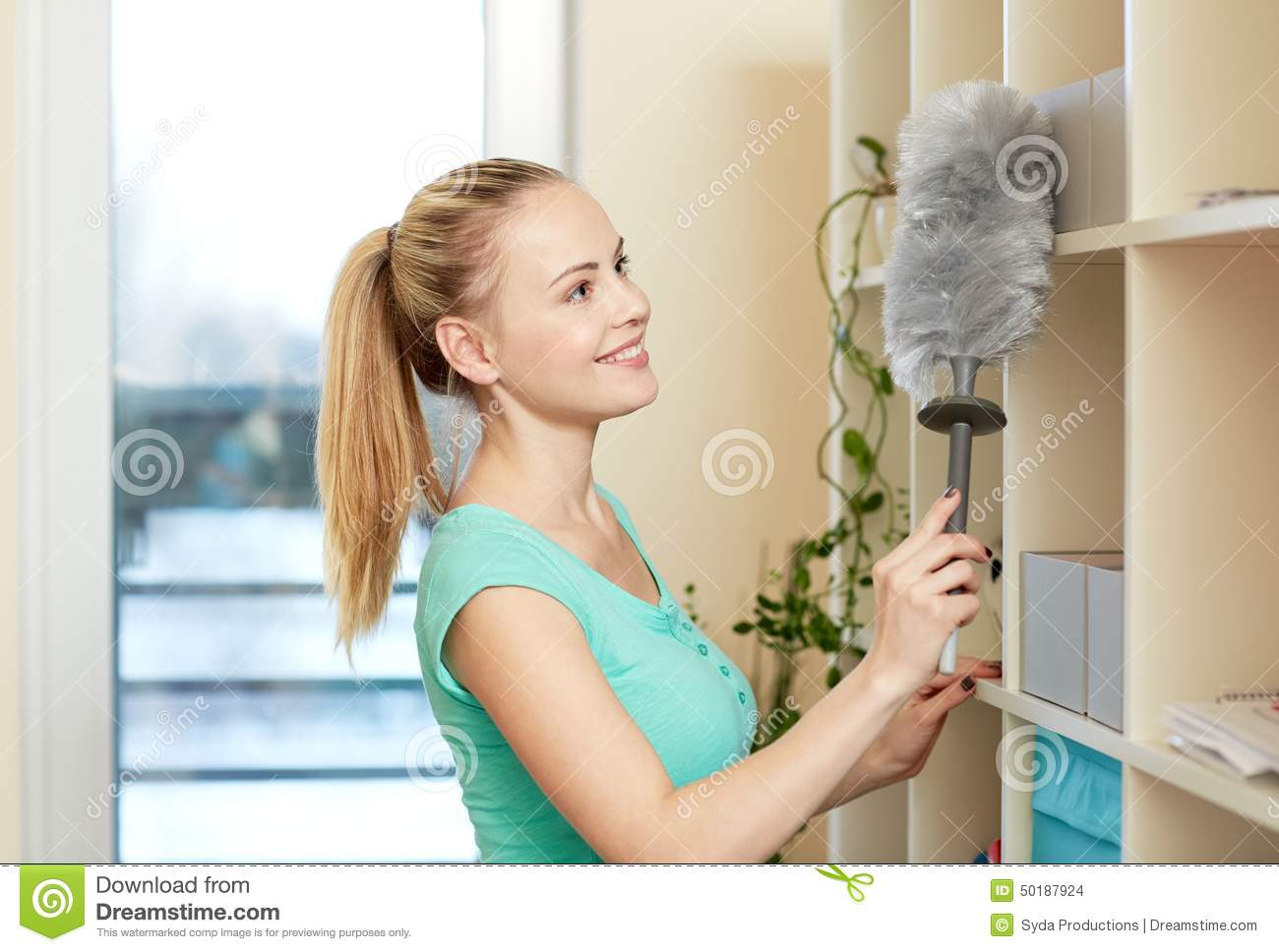 Happy Woman Cleaning Home Royalty Free Stock Photography