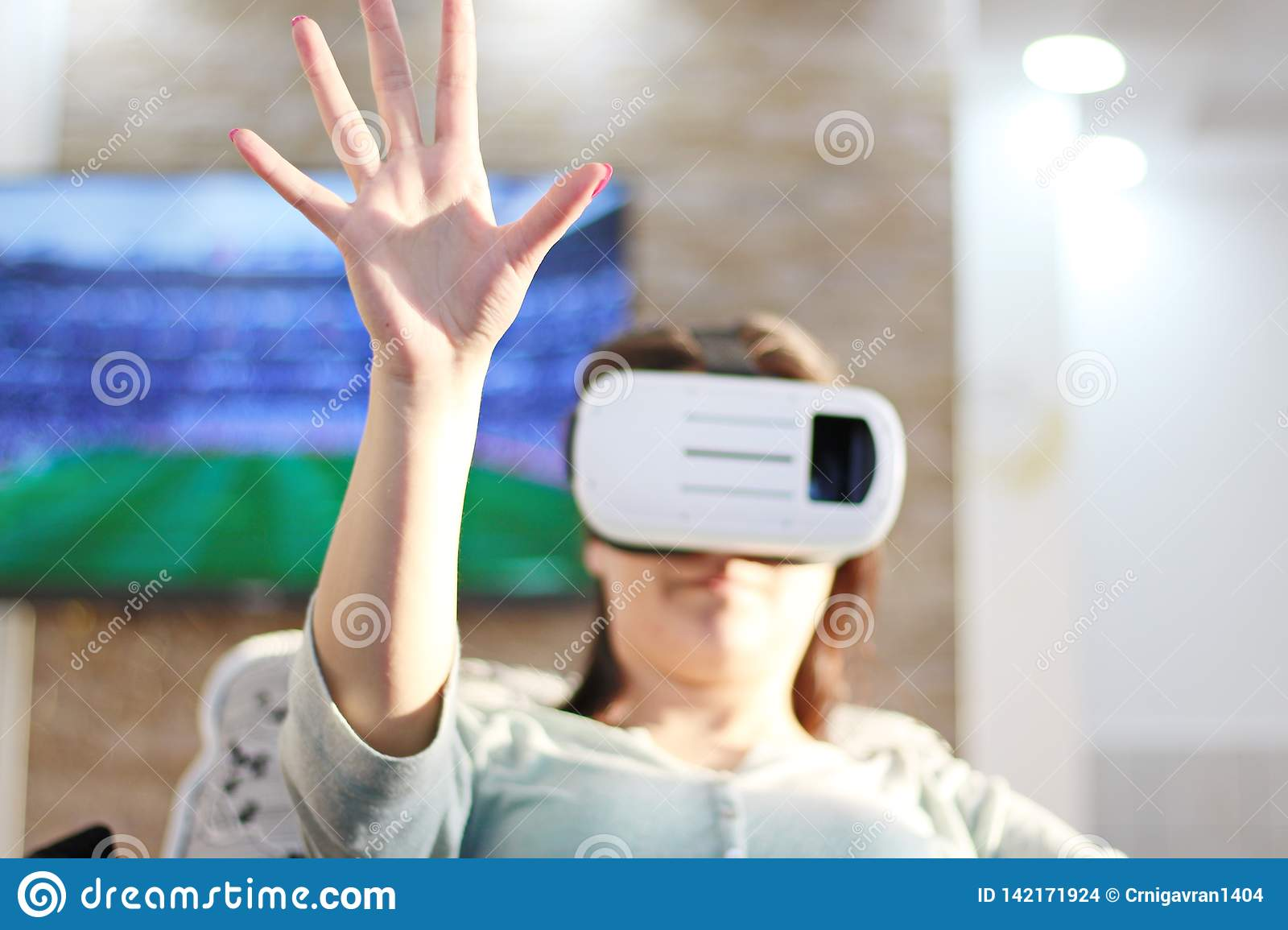 Business Woman With VR Headset Glasses Device. Virtual