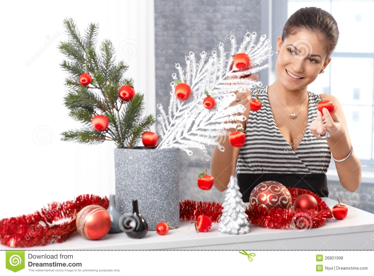 Happy Woman Getting Ready For Christmas Royalty Free Stock