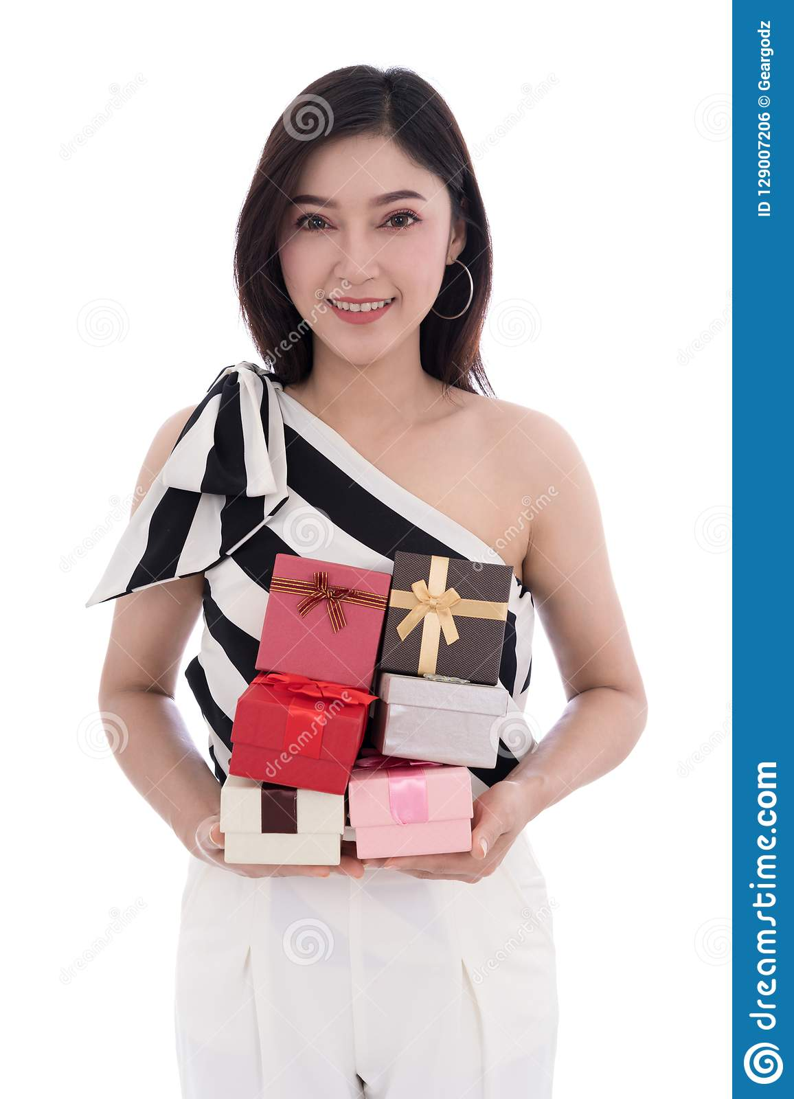 Happy woman with gift box isolated on white background