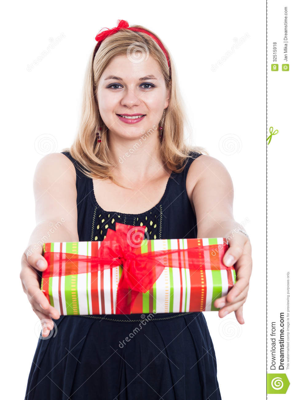 https://thumbs.dreamstime.com/z/happy-woman-giving-present-generous-isolated-white-background-32515918.jpg