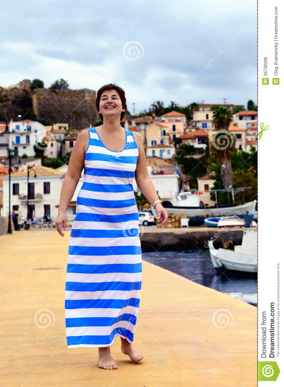 Happy woman in greek flag dress stock photo image 35730296 for Greek flag coloring page