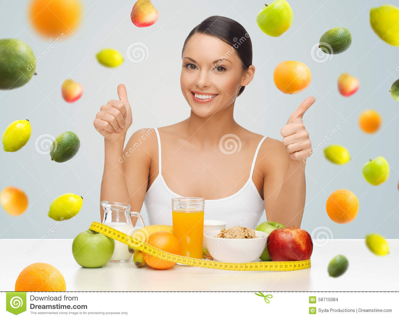 Happy Woman With Healthy Food Showing Thumbs Up Stock ...