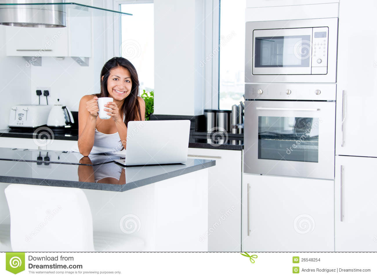 Happy Woman In Her Kitchen Stock Photo Image Of Happy
