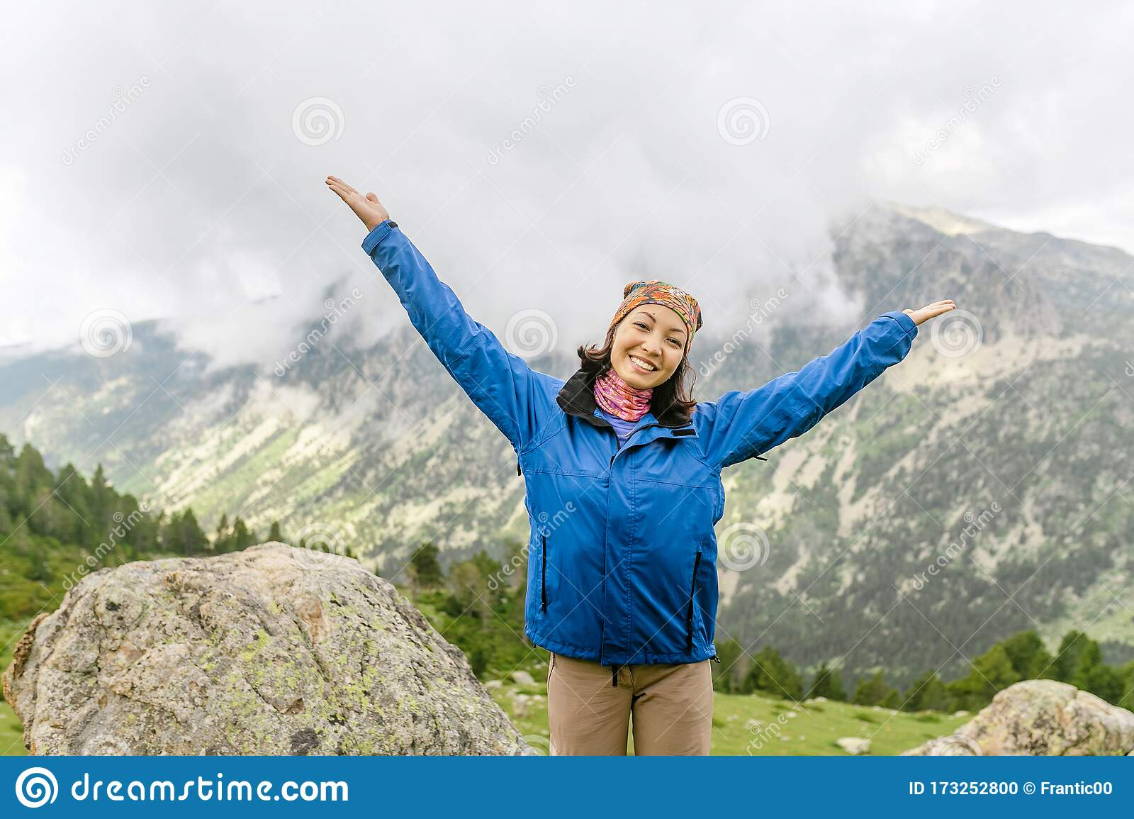 Woman Hiker Travels In Pyrenees Mountains In Andorra And Spain Nordic Walking Recreation And Trekking Along Gr11 Path Stock Photo Image Of Hike Lifestyle 173252800