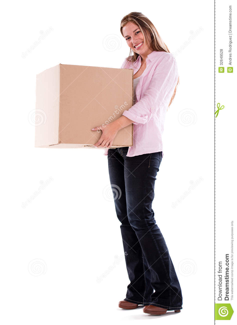 Happy Woman Holding A Box Stock Photo Image Of Happy