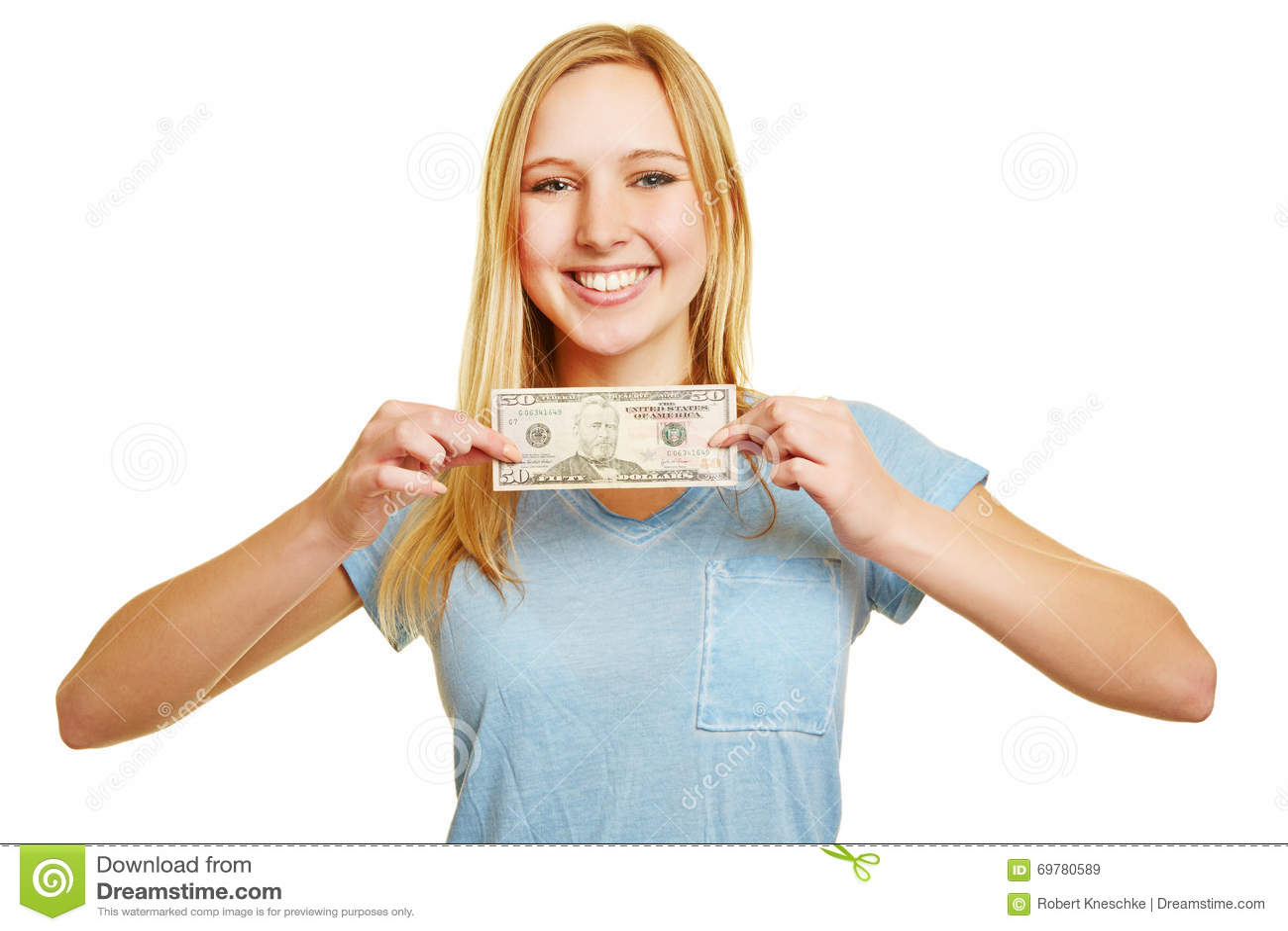 Happy woman holding 50 dollar bill