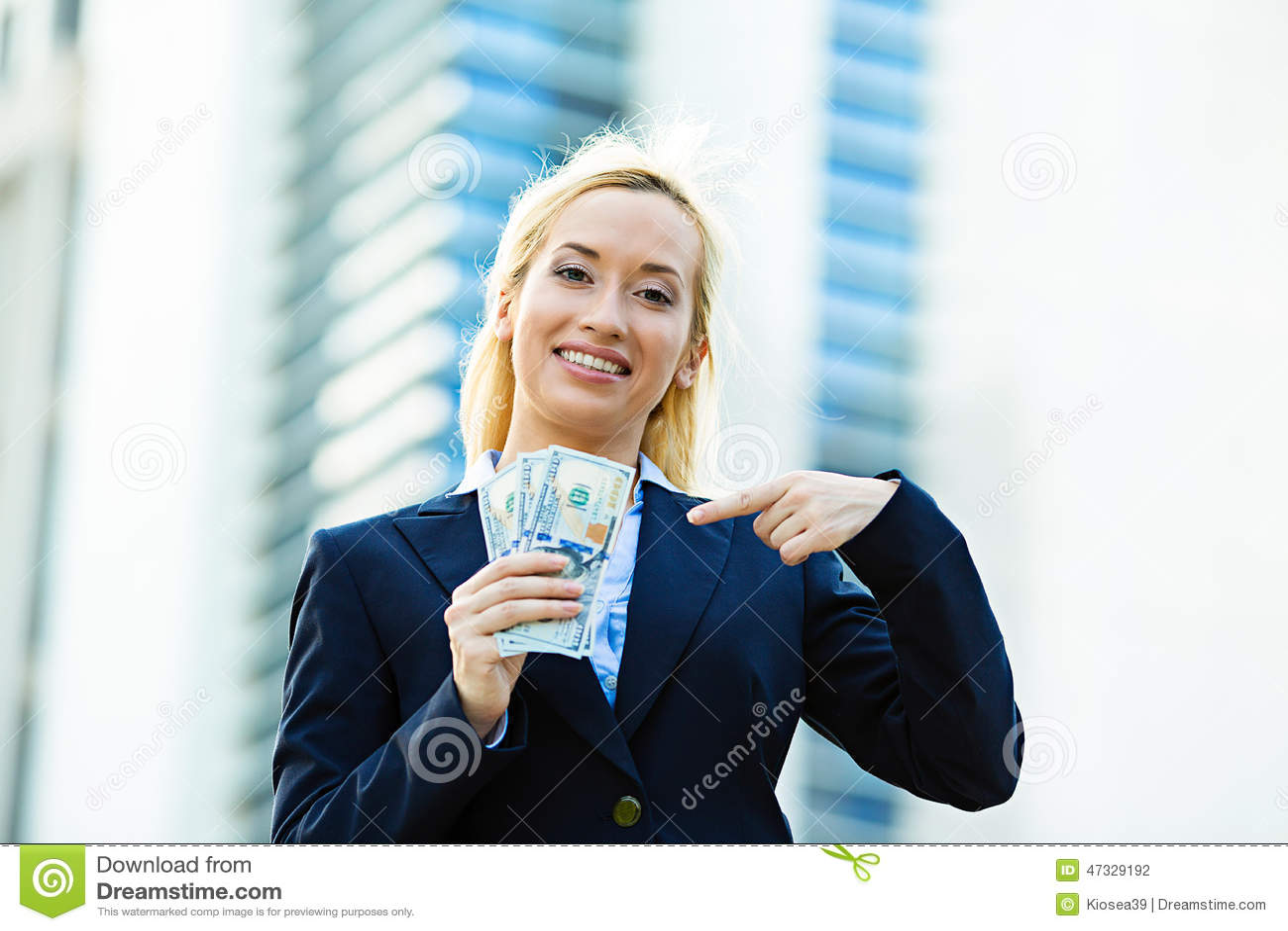 Happy Woman Holding Dollar Bills Stock Photo - Image: 47329192