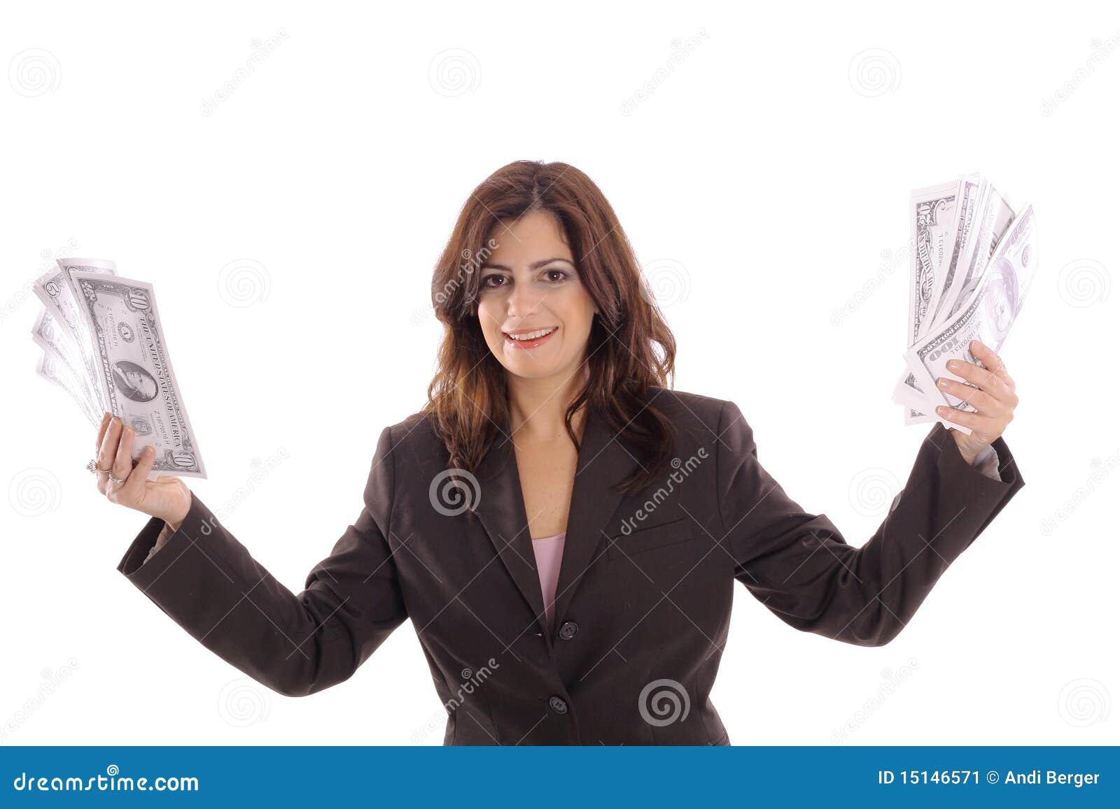 Happy Woman Holding Money Stock Image - Image: 15146571