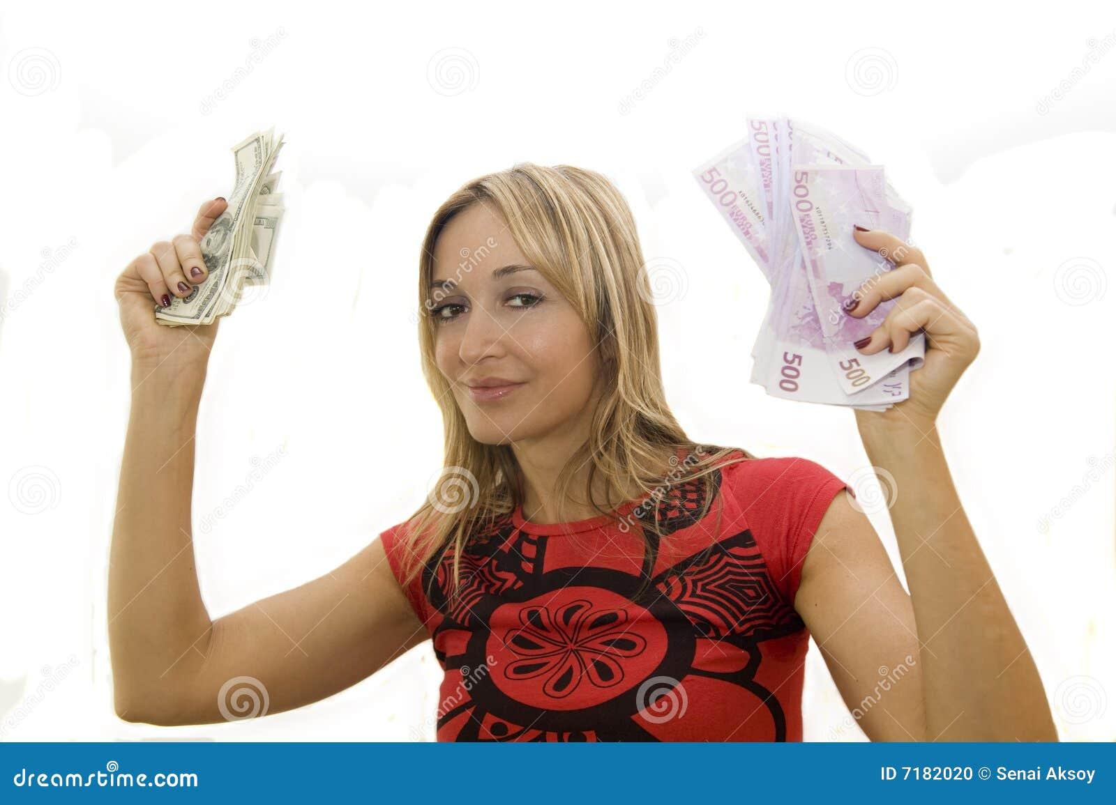 Happy Woman Holding Money Stock Photo - Image: 7182020