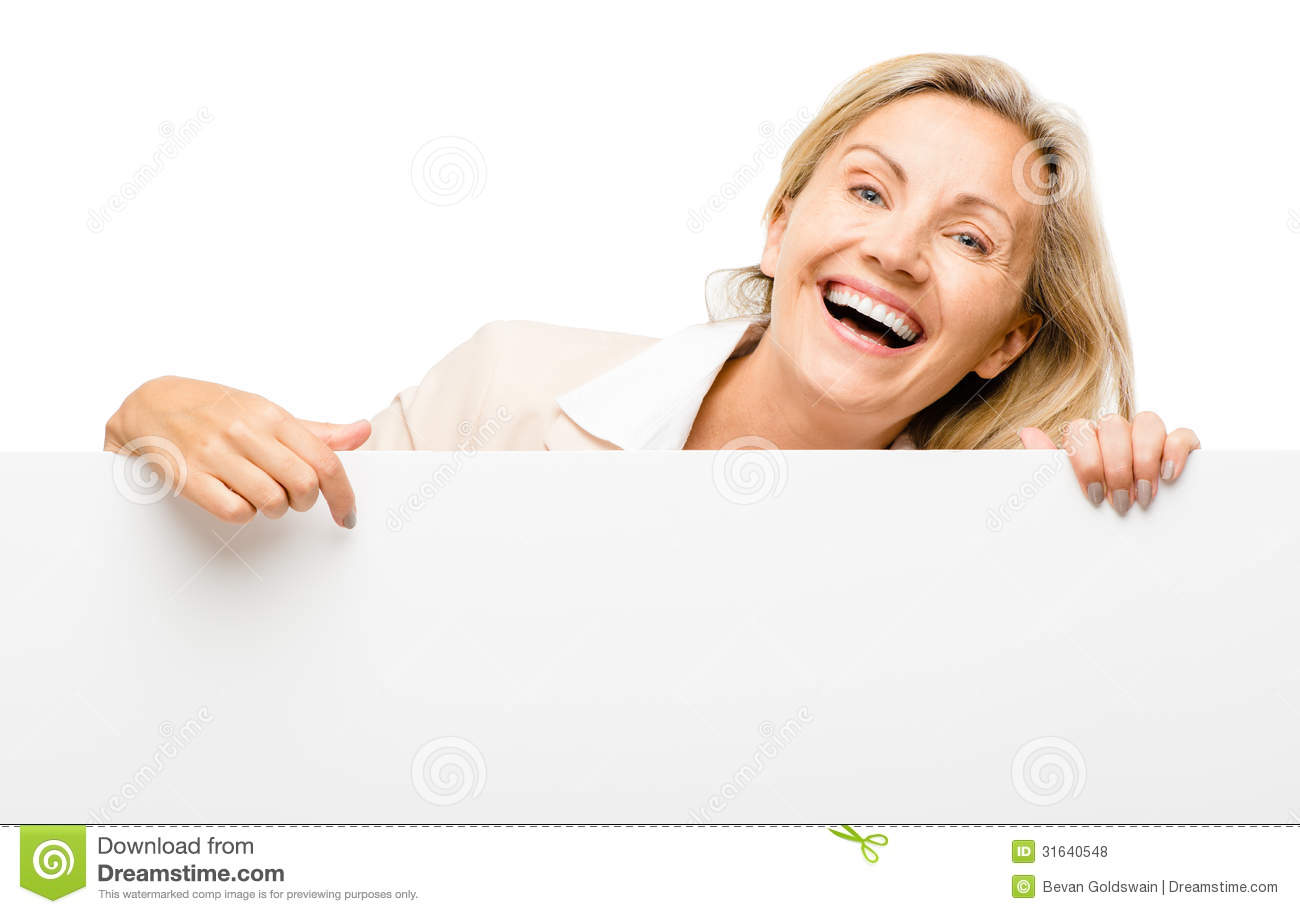 happy-woman-holding-placard-smiling-isol